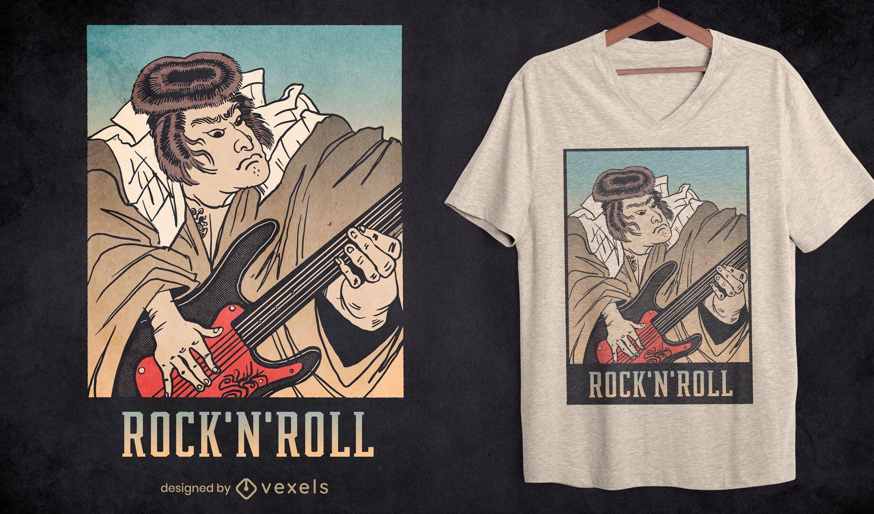 Diseño de camiseta de guitarra samurái rock and roll.