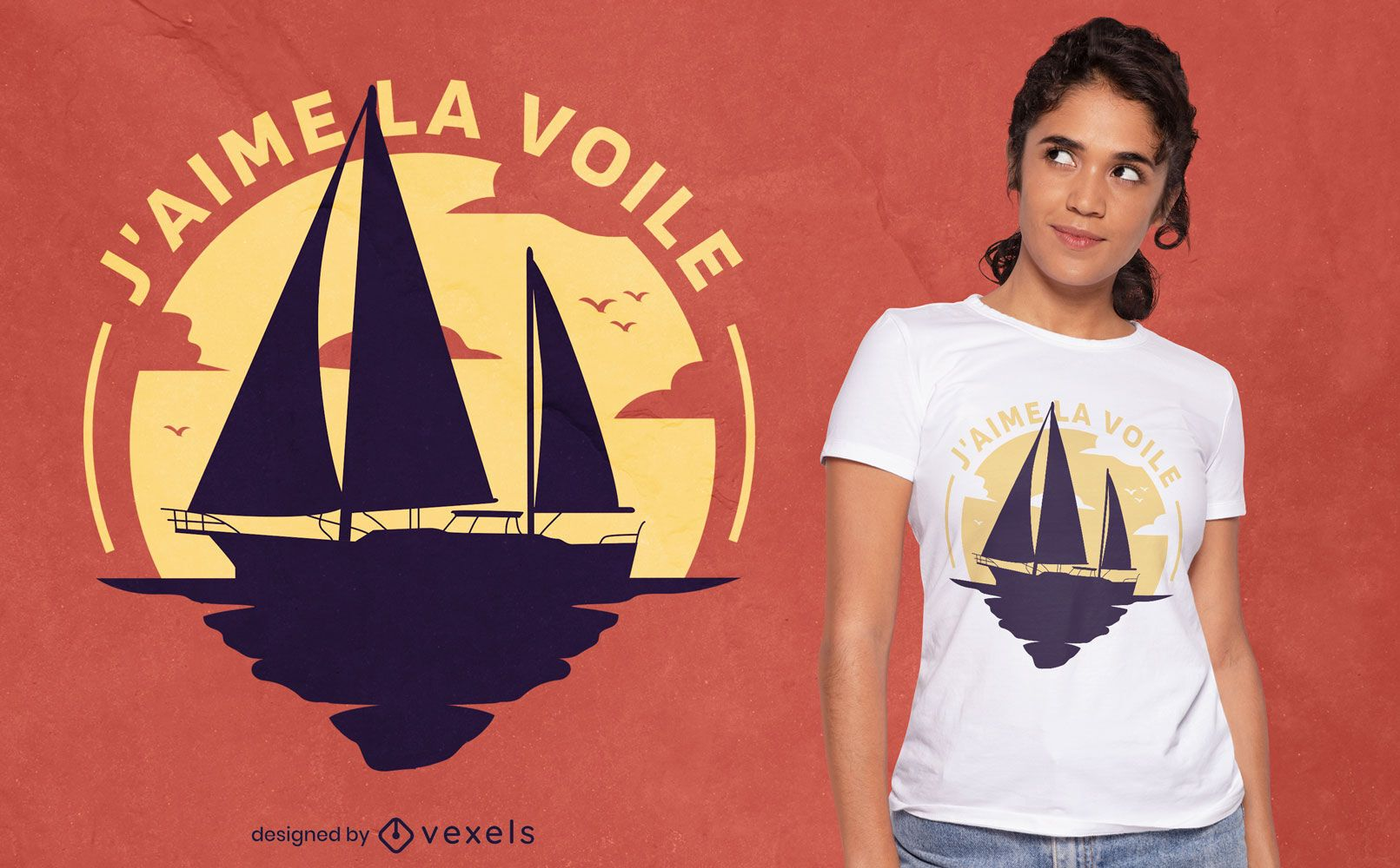 Diseño de camiseta de silueta de velero océano