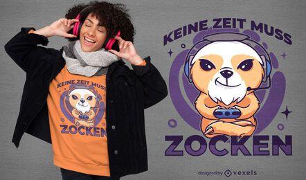 Design de camiseta com joystick para jogador de preguiça