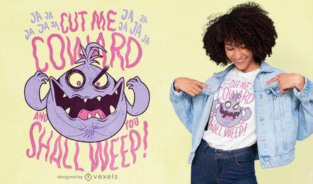 Desenho de camiseta de desenho animado com citação de cebola maléfica
