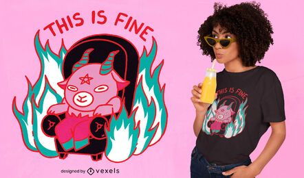 This is fine baphomet meme t-shirt design