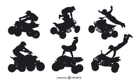 Quad bike extreme poses silhouette set