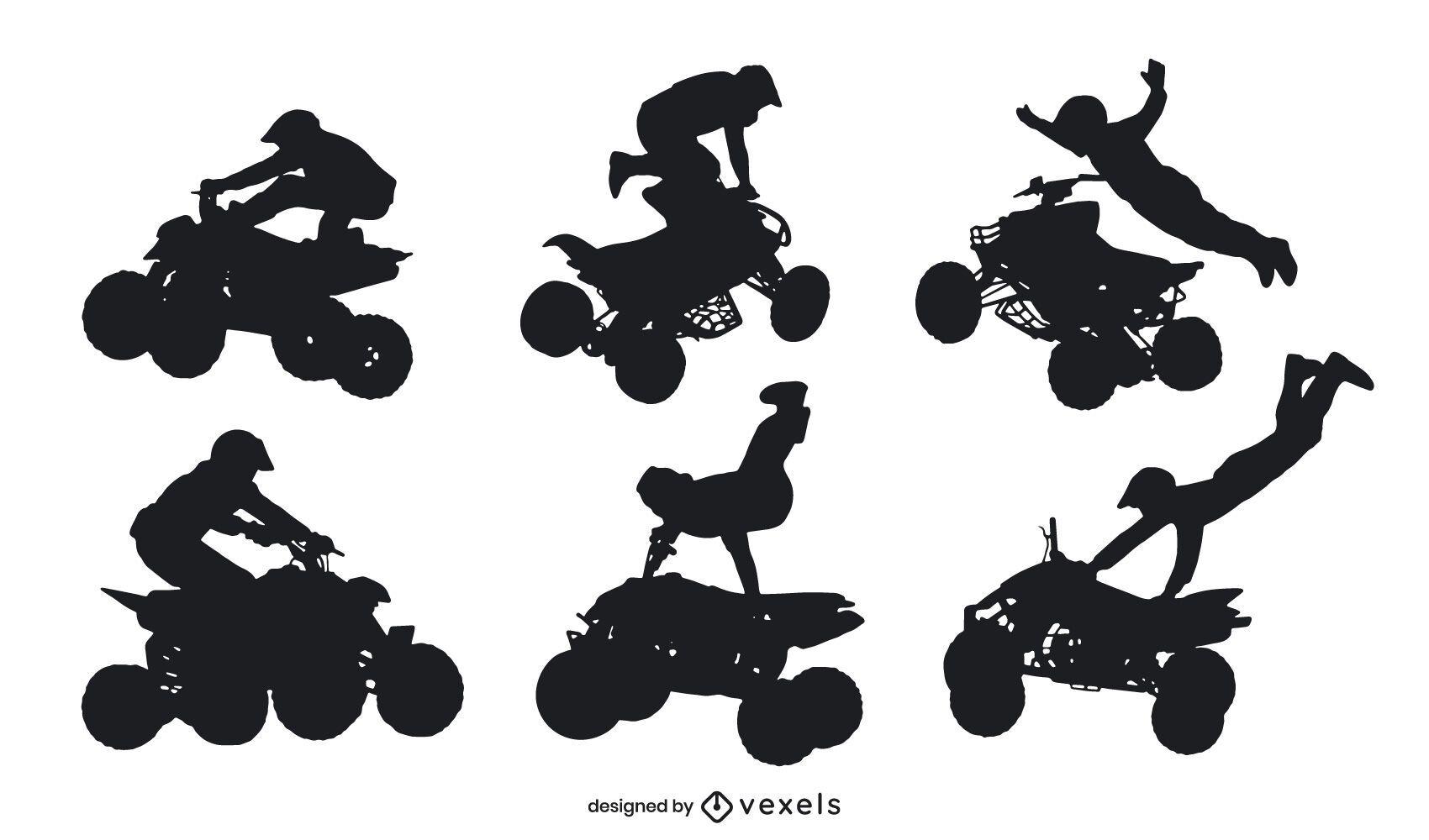 Conjunto de silhueta de poses extremas de quadriciclo