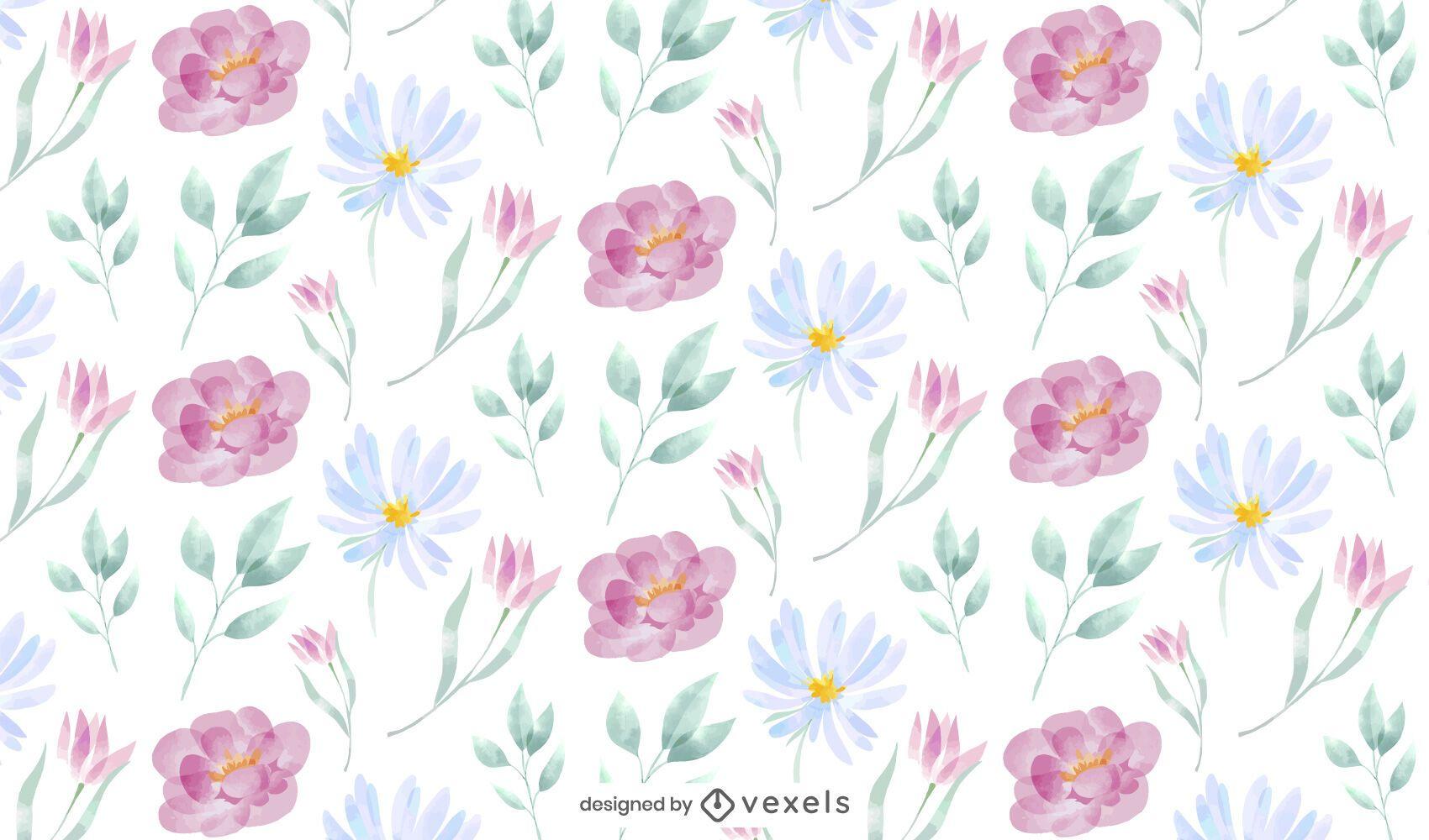 Diseño de patrón de naturaleza de flor de acuarela