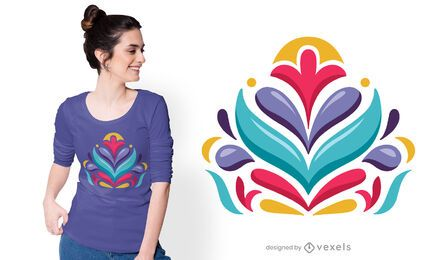 Diseño de camiseta de composición otomi brillante.