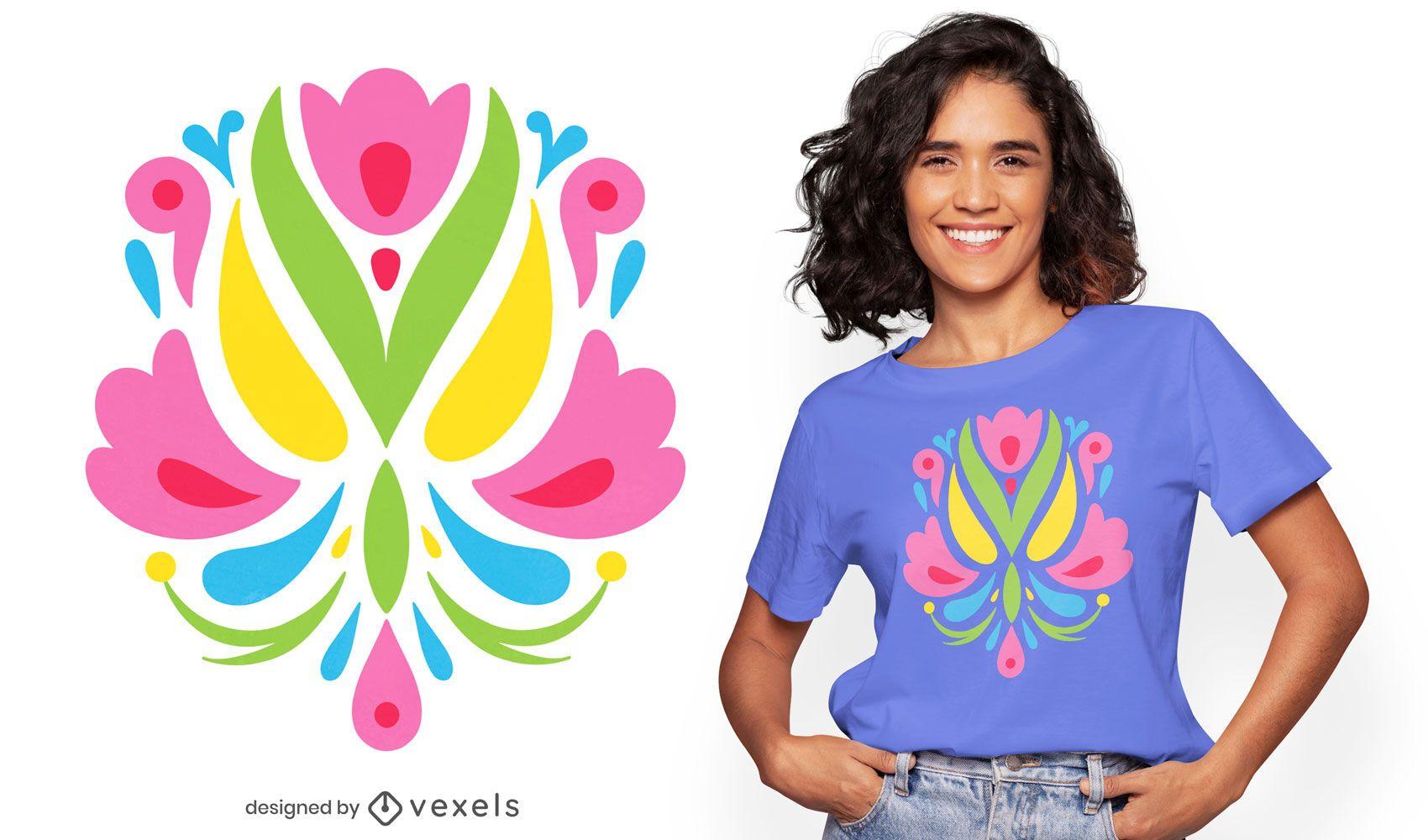 Diseño de camiseta de flores de otomi planas coloridas