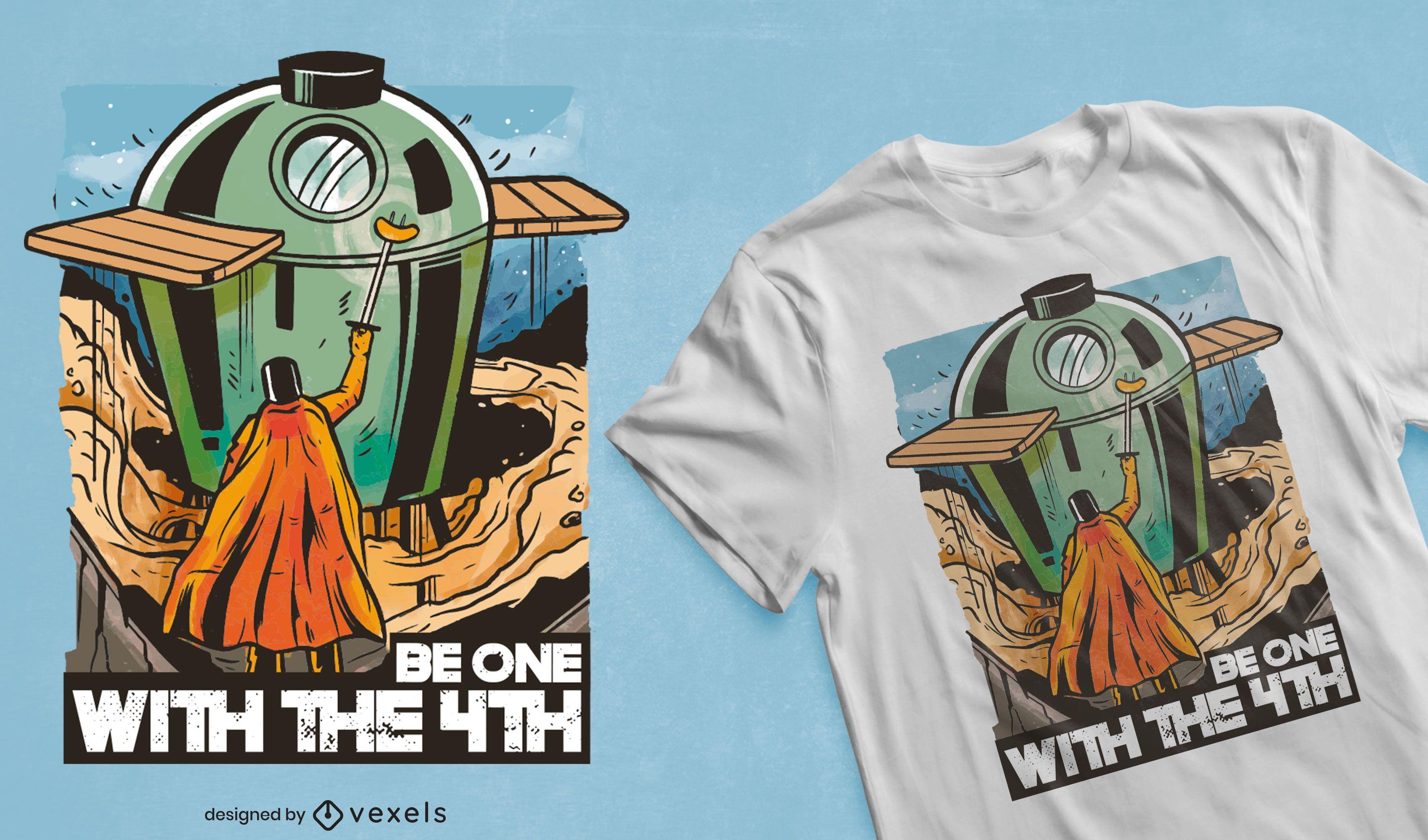 Design de t-shirt com citação de paródia Sky BBQ