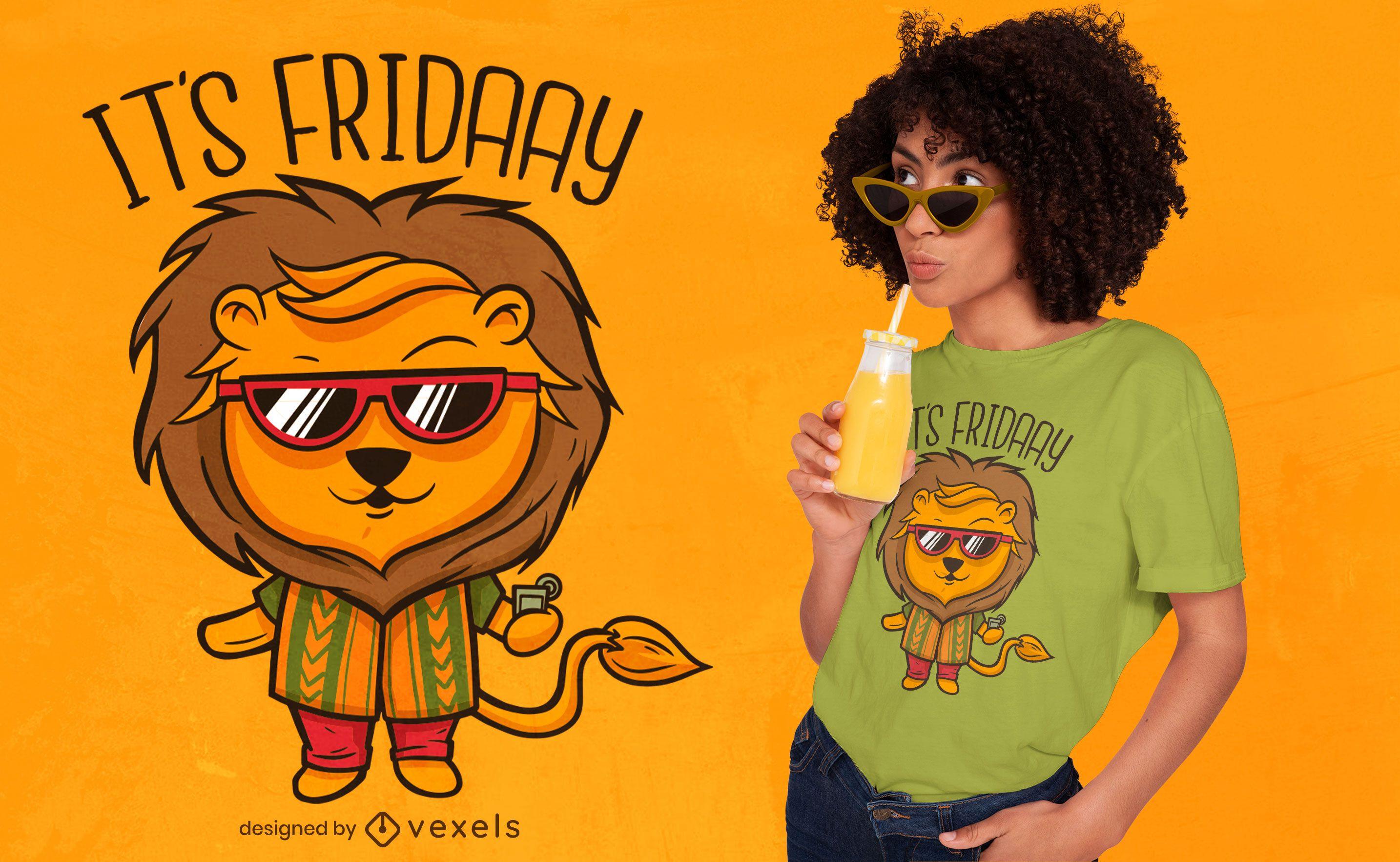 Desenho de camiseta com citação de leão fofo