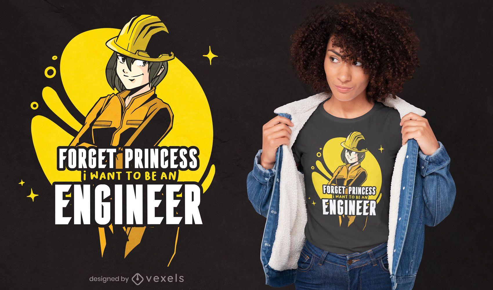 Desenho de t-shirt com citações de engenheiro de anime girl