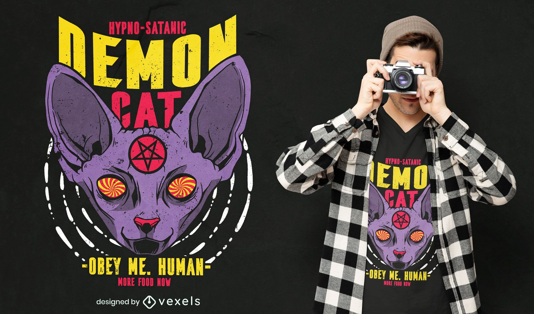 Diseño de camiseta satánica animal gato esfinge.