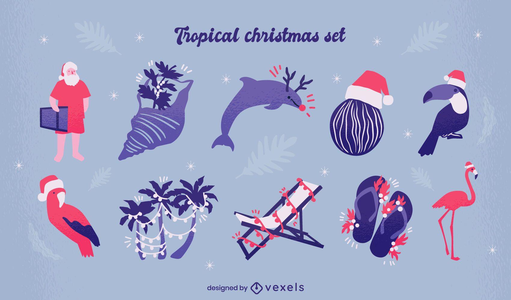 Conjunto de elementos de natal tropical