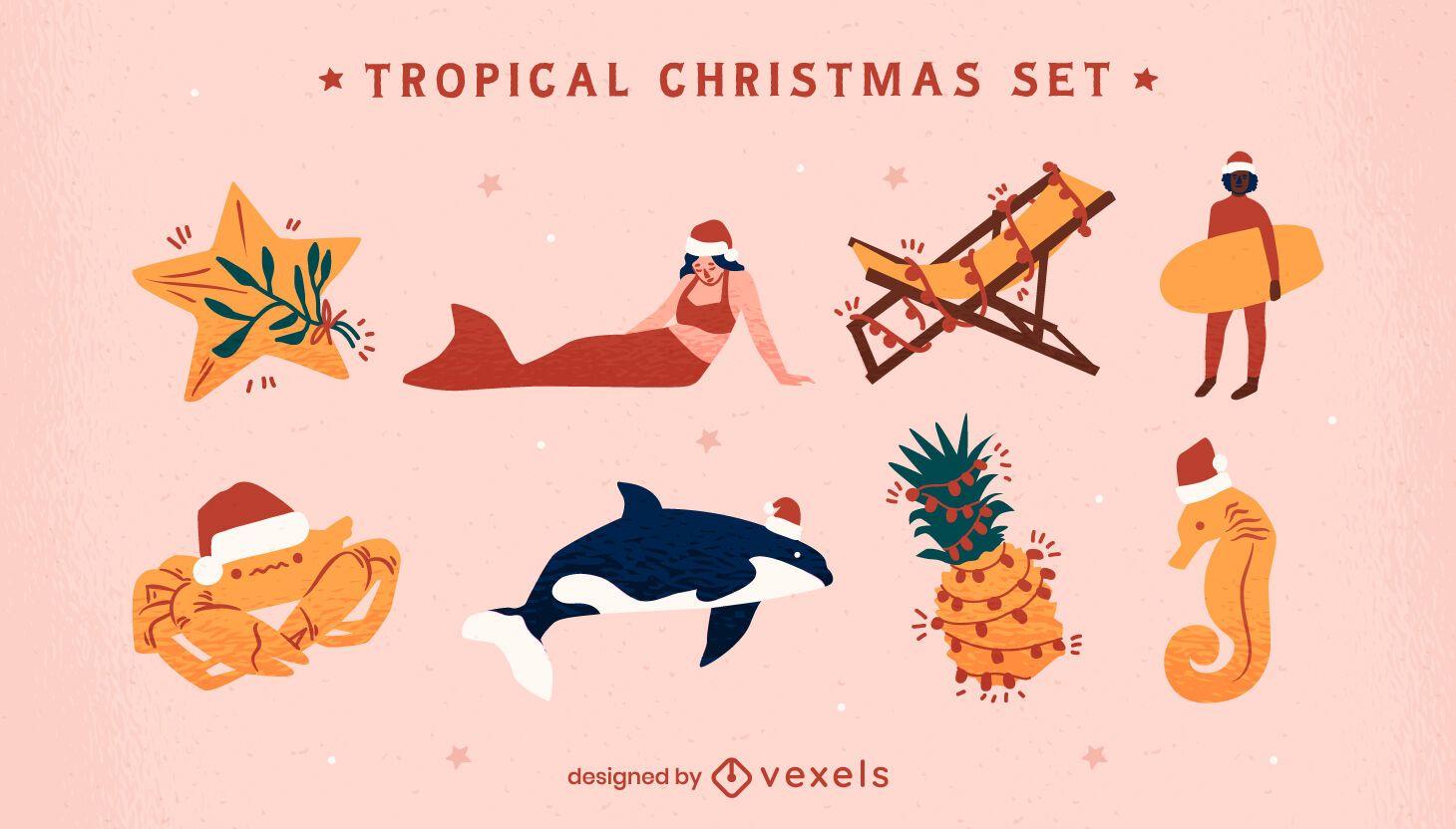 Conjunto de elementos de clima quente de Natal tropical
