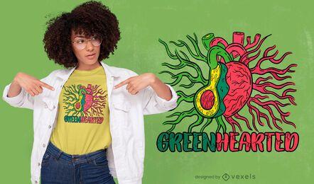 Design de t-shirt com sistema coração e abacate