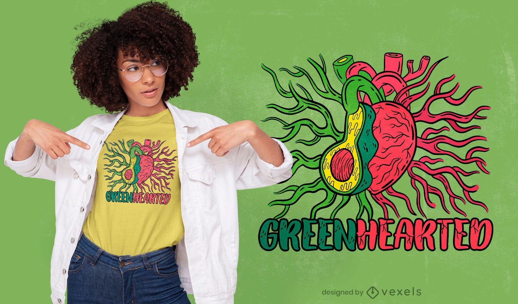 Diseño de camiseta con sistema corazón y aguacate.