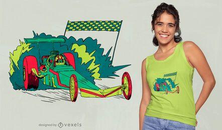 Neon drag racing car t-shirt design