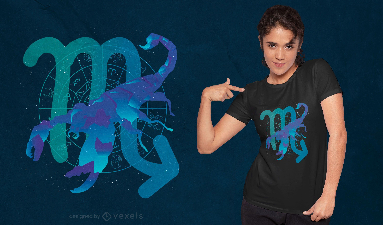 Zodiac Scorpio Symbol Farbverlauf T-Shirt Design
