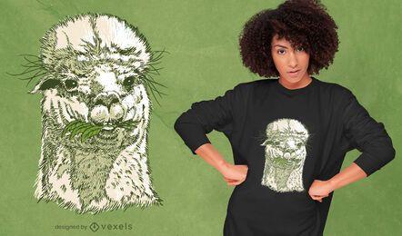 Diseño de camiseta de cara de alpaca dibujada a mano.