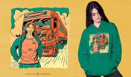 Frau mit handgezeichnetem T-Shirt-Design des Lastwagens