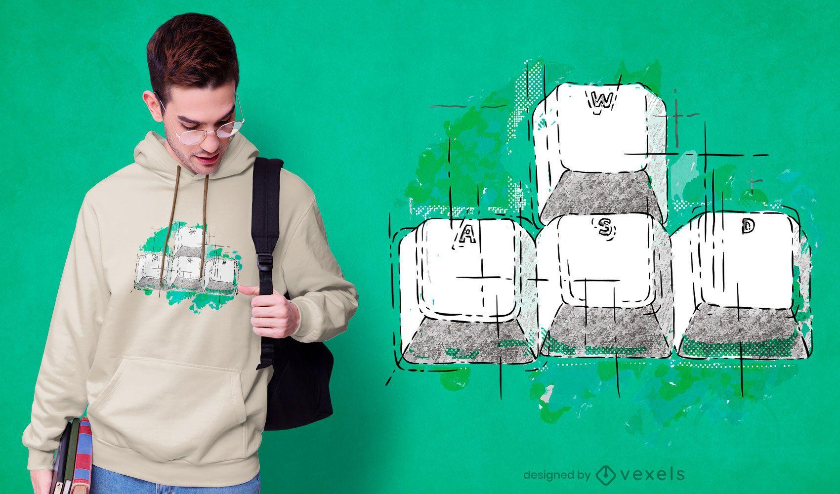 Diseño de camiseta de teclado para juegos dibujados a mano.