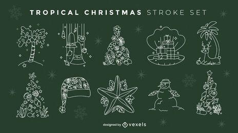 Conjunto de elementos tropicais da temporada de Natal
