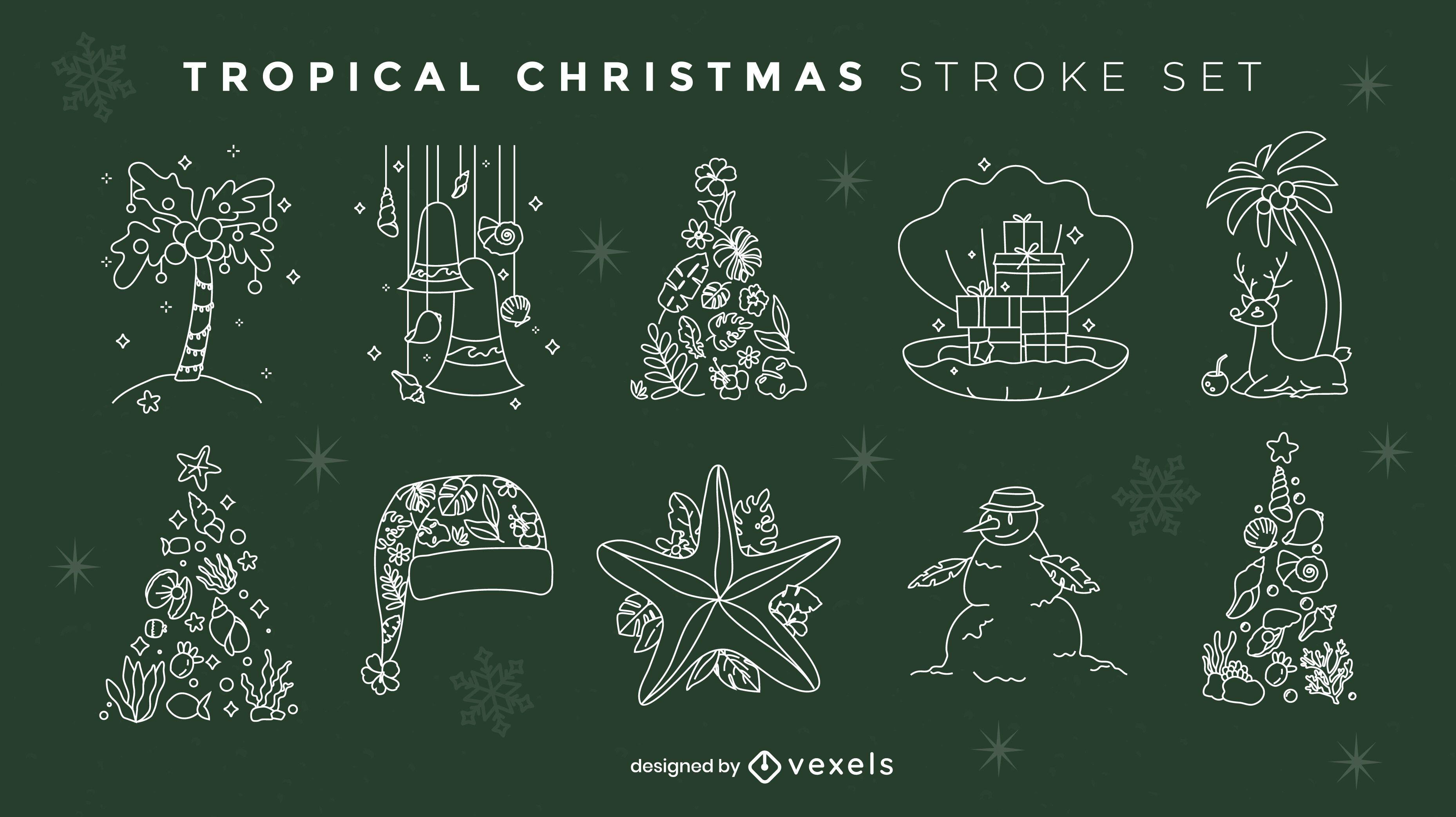 Christmas season tropical elements stroke set
