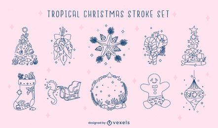 Tropical christmas season stroke set