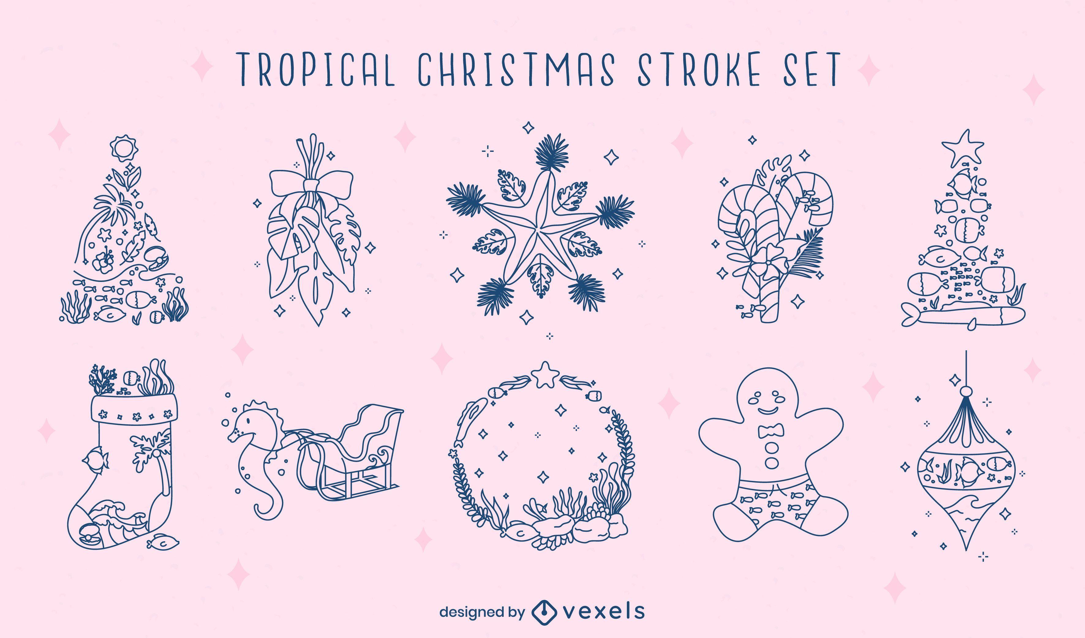 Conjunto de trazos de temporada navideña tropical