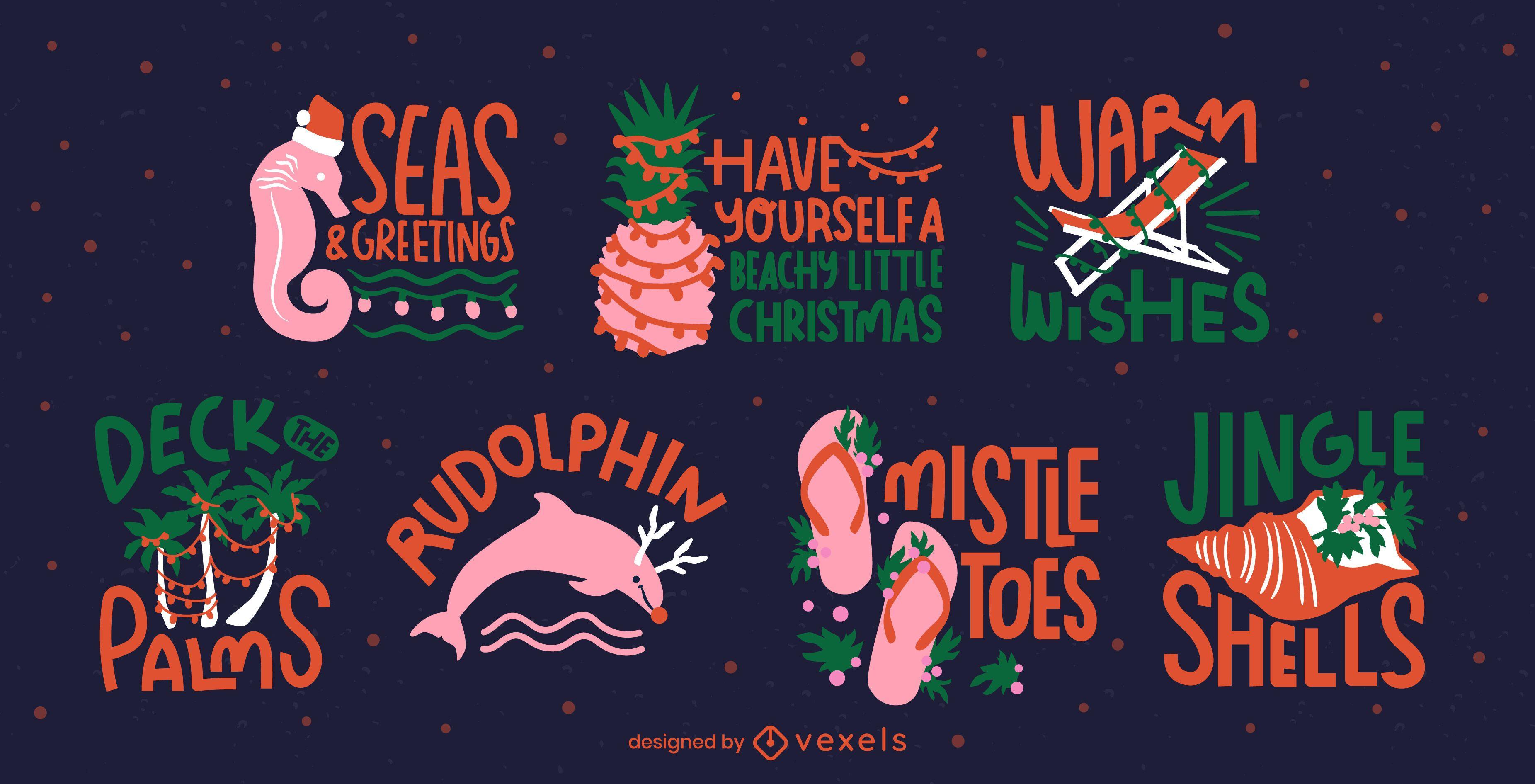 Tropical christmas seasonal badges set