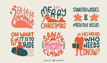 Christmas season tropical badges flat set