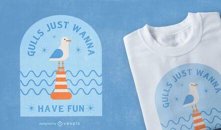 Diseño de camiseta de cita divertida de pájaro gaviota