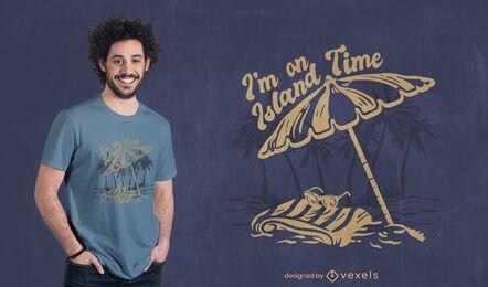 Diseño de camiseta tropical de isla de playa.