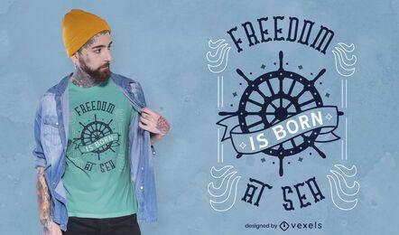 Sea freedom nautical ship t-shirt design