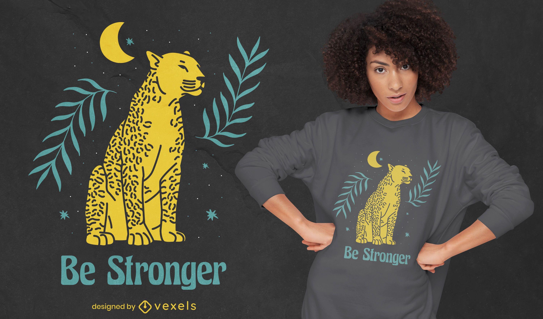 Design de camiseta com as citações mais fortes do tigre