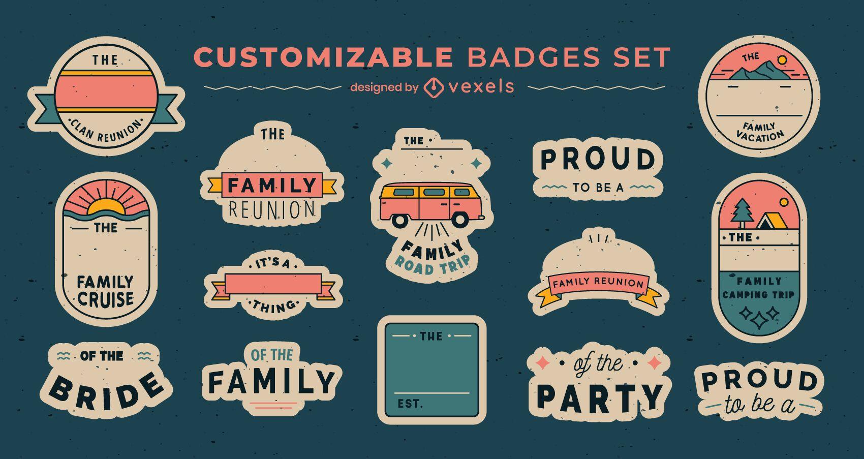 Conjunto de emblemas de família vintage personalizável