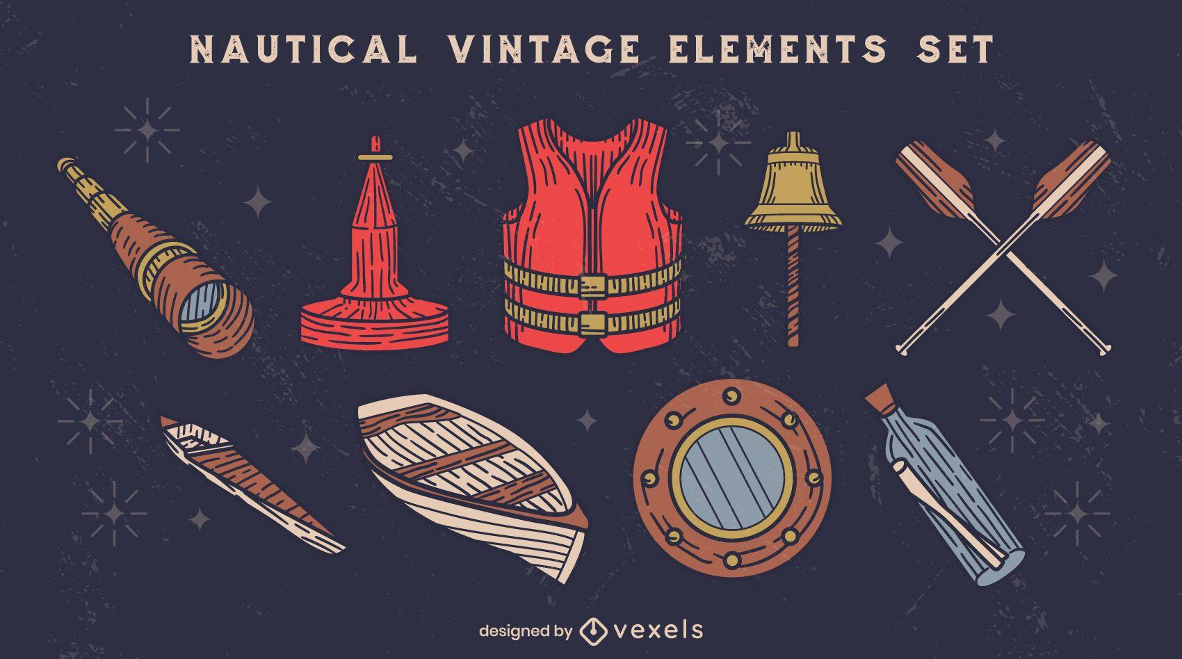 Conjunto de elementos de ilustración vintage de barco náutico