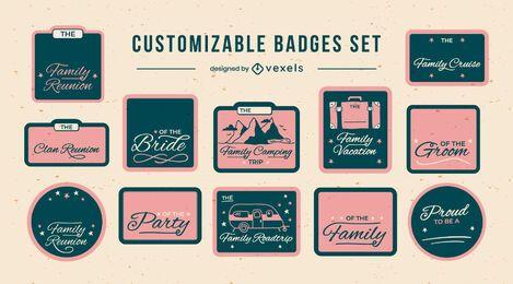 Family lettering badges customizable set