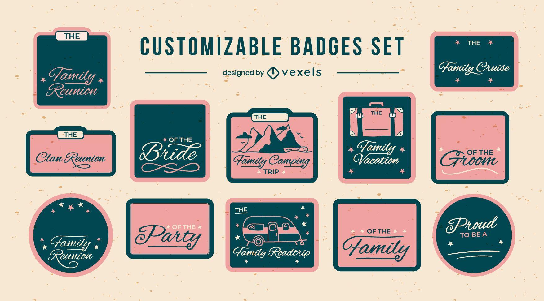 Conjunto personalizable de insignias de letras familiares