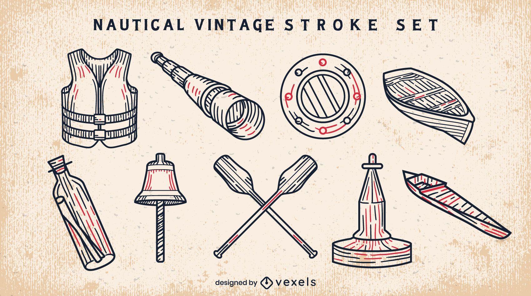 Conjunto de elementos de trazo vintage de barco náutico