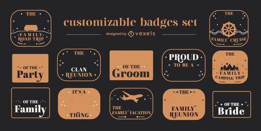Family trip badges customizable set