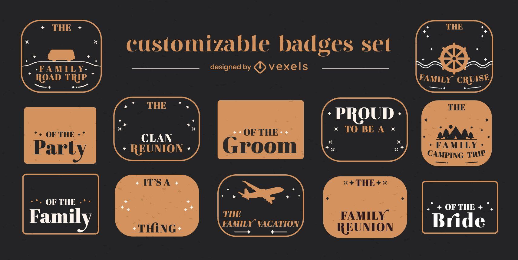 Conjunto personalizable de insignias de viaje familiar