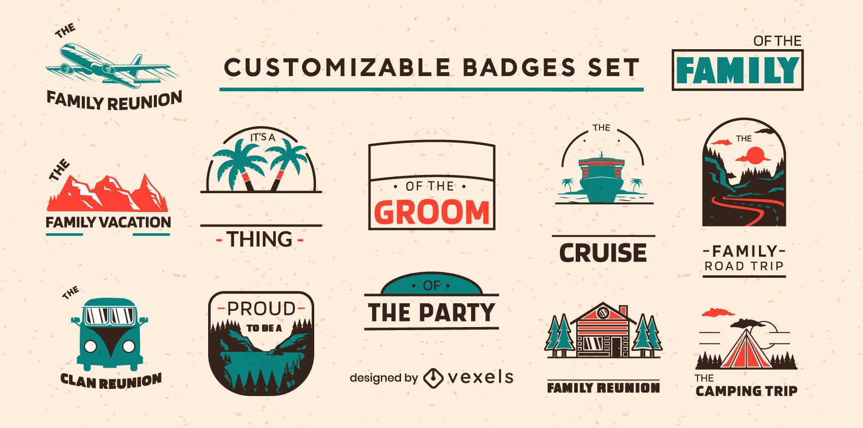 Conjunto personalizável de emblemas de férias em família