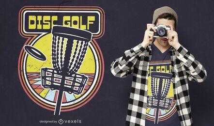 Disc golf retro videogame t-shirt design