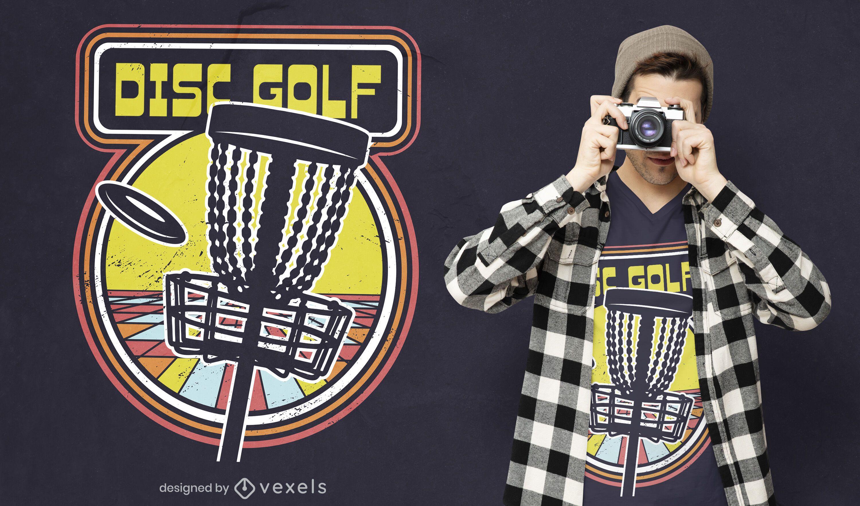 Diseño de camiseta de videojuego retro de disc golf.