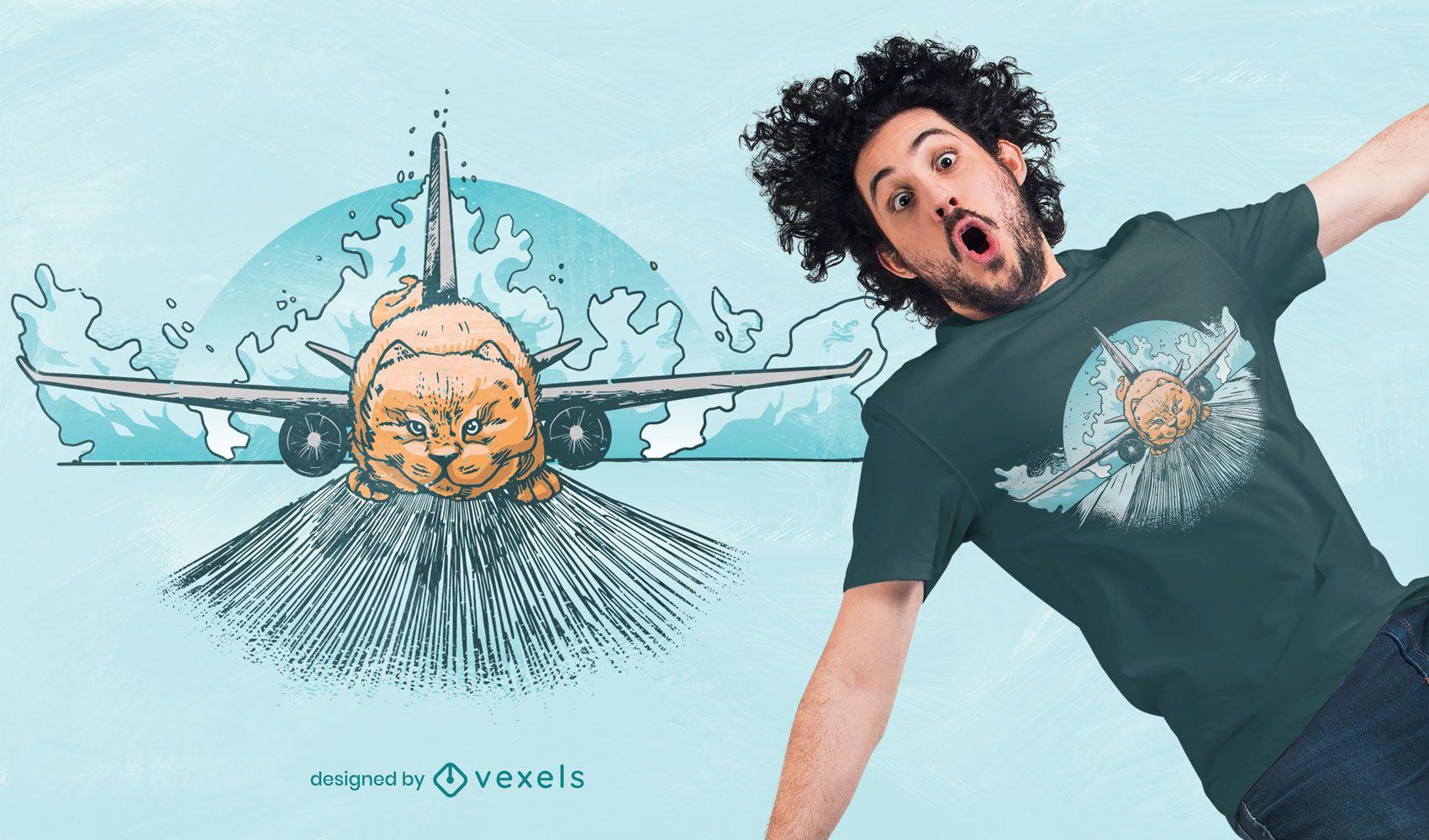 Design de t-shirt de gato de avião desenhado à mão
