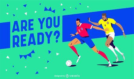 Controle deslizante de citação do jogo de esporte para jogadores de futebol