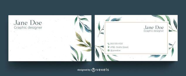 Diseño de tarjeta de visita floral acuarela