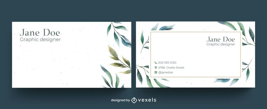 Watercolor floral business card design