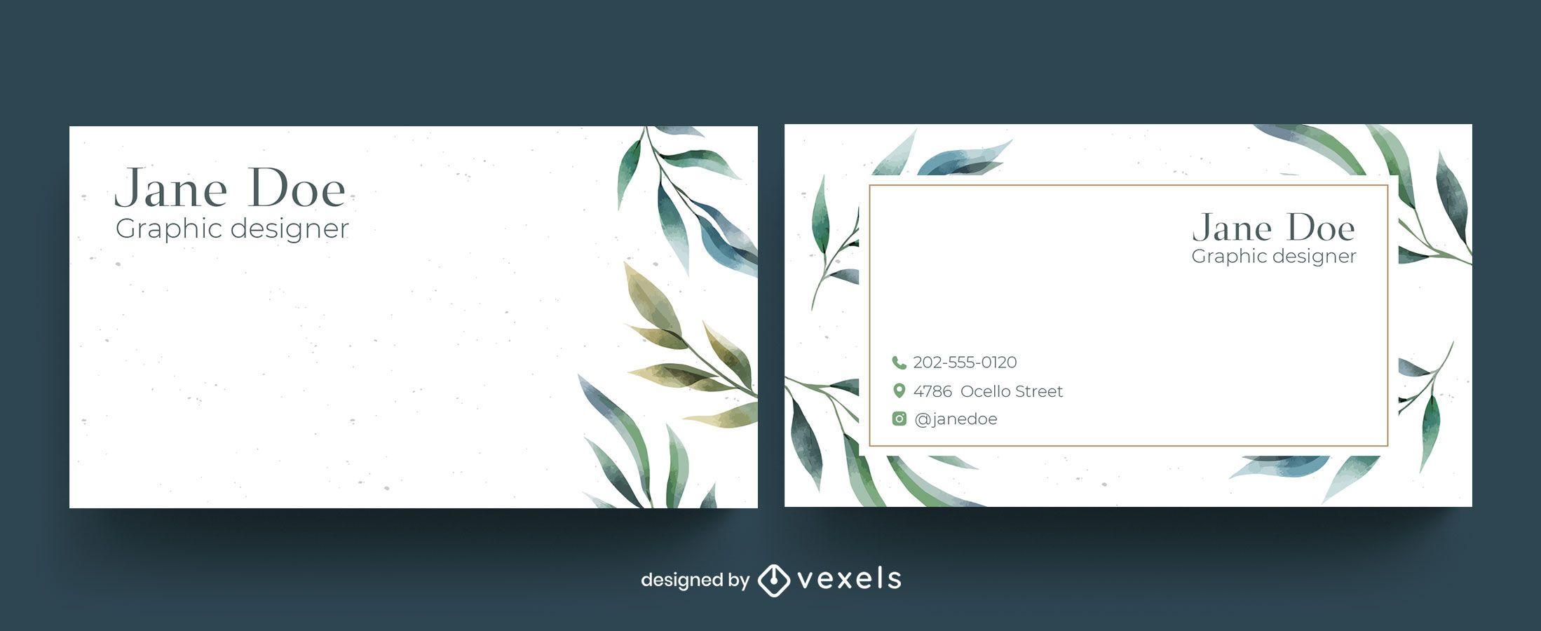Design de cartão de visita floral em aquarela