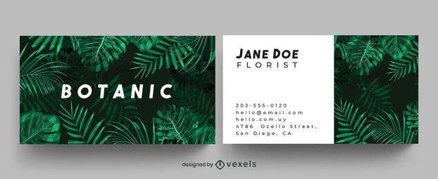 Design de cartão de visita botânico na selva