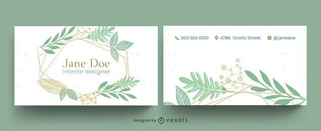 Diseño de tarjeta de visita de hojas de jardín.